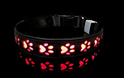 KSWLLO LED Dog Collar PU Leather with Metal Bucket USB Rechargeable Black Green Red Color (Small (14.17-15.74 inch/36-40cm), Black)