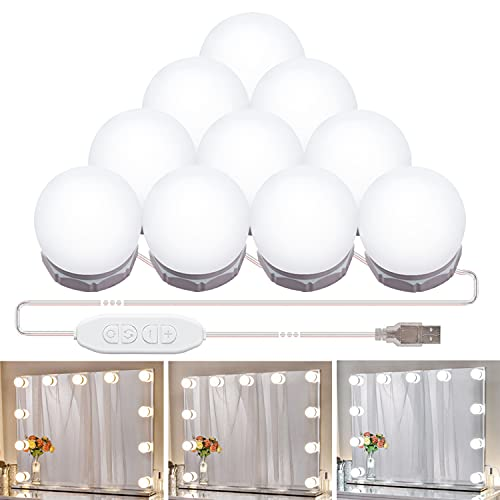 Mirror Lights Hollywood Style Led Vanity Lights Kit with 10 Dimmable Light Bulbs,Makeup Light with 3 Colors Mode &10 Brightness for Vanity Table Dressing Mirror