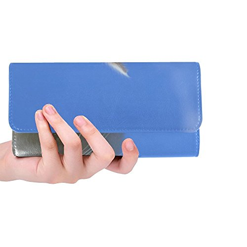 Unique Custom Cat Head Sky Blue Women Trifold Wallet Long Purse Credit Card Holder Case Handbag