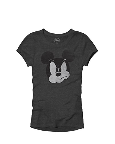 Mad Mickey Mouse Graphic Tee Classic Vintage Disneyland World Adult Women's Juniors Slim Fit Graphic Tee T-Shirt Apparel (Heather Charcoal, Junior's Large)