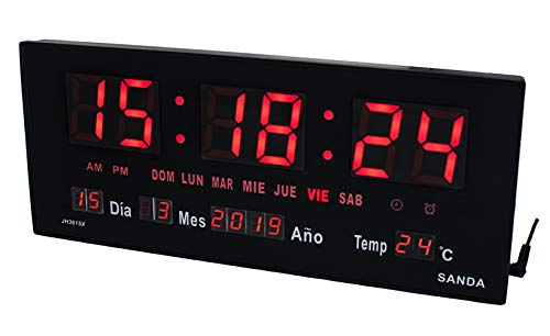 Sanda SD-0015 Reloj Digital de Pared y Mesa Led Color Rojo Calendario