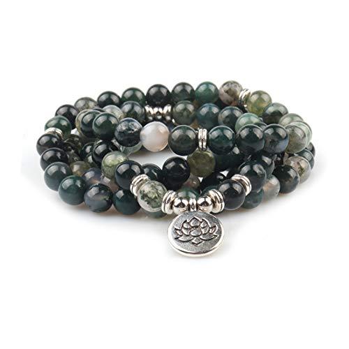 Gvusmil 8 mm 108 mala-pärlor omlottarmband eller halsband för yoga med berlock och naturliga...