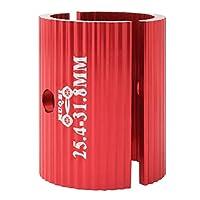 LIOOBO 2Pcsバイクハンドルバーシムアダプター31.8?25。4Mmアルミニウム合金自転車スペーサーハンドルバー変換シートハンドルバーステムレデューサーレッド