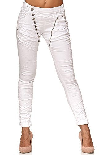 Elara Damen Jeans Boyfriend Baggy Knopfleiste Weiß Chunkyrayan EL05-9 White-40/L