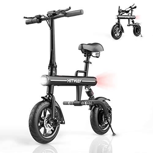 HITWAY Bicicletta elettrica, Bici elettrica Pieghevole in Alluminio con Pneumatici da 12 Pollici, Schermo a LED, Potenza Motore 250W, Adatta per Adulti e Adolescenti