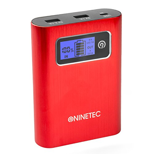 NINETEC PowerDrive 2in1 64GB USB Flash Speicher + 13.400mAh Power Bank Akku Ladegerät in Rot