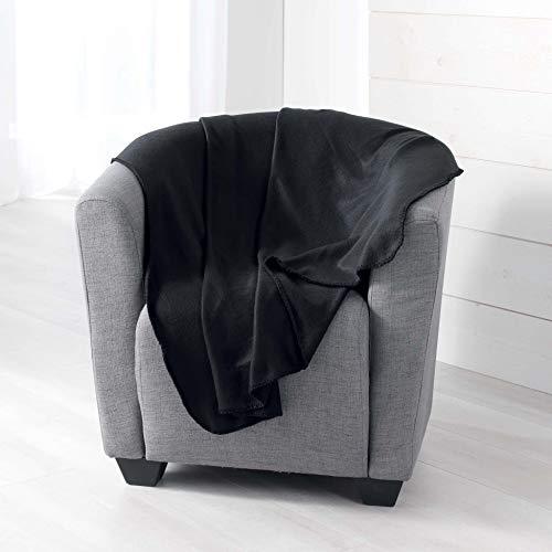 douceur d intérieur Milou PLAID, Polyester, Noir, 125 x 150 CM