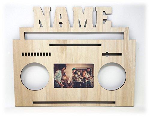 Bilderrahmen Ghettoblaster Boombox Radio Kassetten Retro Vintage XL DJ Deko Holz Geschenk Individualisiert