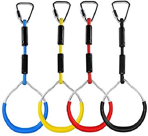 4Pcs Swing Bar Rings for Kids, Colorful Gymnastic Rings, Ninja Ring, Monkey Ring, Playground Equipment for Ninja Line, Obstacle Ring - Swing Toys'