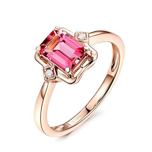 Dreamdge Women Wedding Band Ring 18K Gold Square Ring, Red Tourmaline Ring 1.07ct Size J½