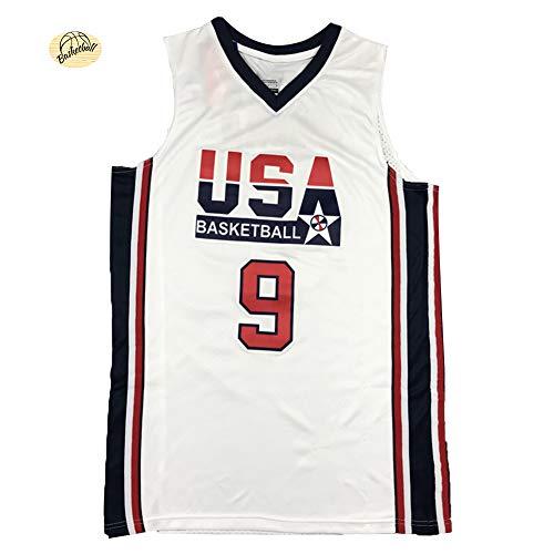 Michael Jordan 9 # USA Dream Team bordado camisetas de baloncesto, de gran tamaño de secado rápido transpirable cómodo traje de entrenamiento sudadera (S-2XL), 123, 123, color blanco, tamaño L