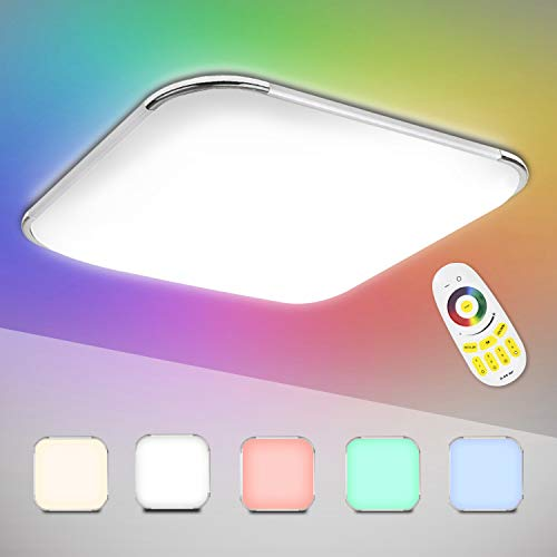 Hengda 24W LED Deckenleuchte, RGB Farbwechsel Deckenlampe Dimmbar mit Fernbedienung, Lichtfarbe Einstellbar, Lampe für Schlafzimmer Wohnzimmer Bad Kinderzimmer Küche, IP44