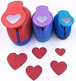 TECH-P Creative Life 3 PCS (1.5',1',5/8') Heart Shape Craft Punch Scrapbook Paper Cutter Eva Foam Hole Punches Valentines Gift Set