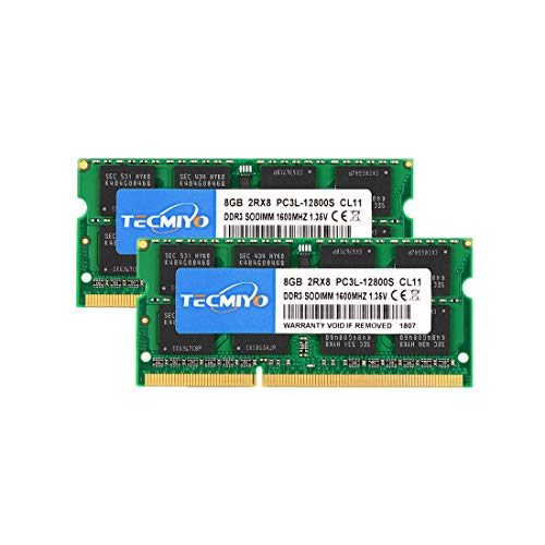 TECMIYO 16GB Kit (2x8GB) PC3L 12800s sodimm DDR3L / DDR3 1600MHz CL11 PC3-12800 1.35V/1.5V 204Pin Non-ECC Unbuffered SODIMM Laptop Memory Ram Module for Mac, Intel and AMD System