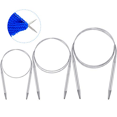 18 Pieces Circular Knitting Needles Set 32 Inch, 23.6 Inch, 17 inch Stainless Steel Knitting Needles Size 2,3,4,5,6,8 mm for Any Weave DIY Lover or Beginner
