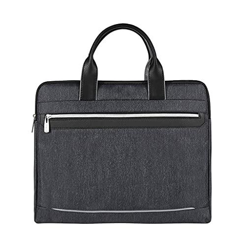 KTNG Portatile Cartella di Tela, Borsa per Laptop da 14 Pollici, Comodo, Impermeabile, Spessa Borsa da Ufficio Blu Durevole da Uomo Blu, Ufficio Business Adatto (Color : Black, Dimensione : 14 inch)
