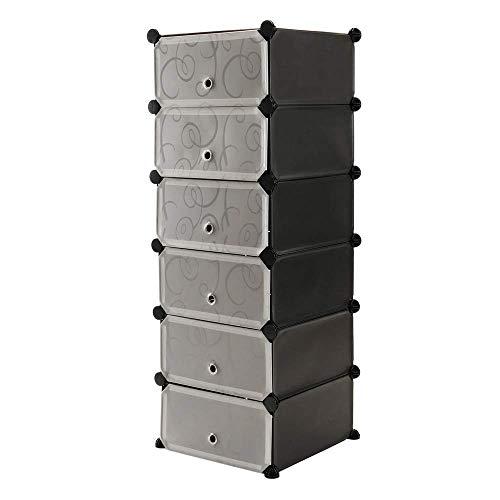 PrimeMatik - Armario Organizador Modular Estanterías de 6 Cubos de 17x35cm plástico Negro con Puertas y Dibujado