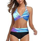 LANSKIRT Bañadores Mujer 2020 Traje de Baño Push Up Bikini Bañador Anudado Estampadas Colores con Estilo Ropa de Playa Verano Bikinis Trikini Conjunto de Bikini Dos Piezas