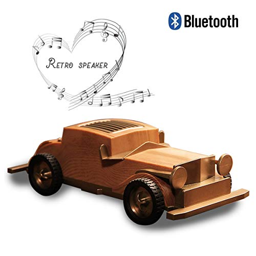 NWLYF Portable Retro Bluetooth Mini Speaker, Vintage car Classic Style, Strong Bass Stereo Speake, Best Gift for Friends and Families - Wood Grain