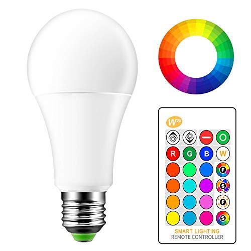 OurLeeme Cambio Color la Bombilla Regulable, E27 15W RGB 16 Colores Control Remoto Blanco frío Bombilla de Bajo Consumo para la Decoración Hogar Party (1PCS, RGBW Blanco Frío)