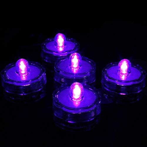 WPCASE Luz Pecera Luces Acuario Led Luces Led Subacuáticas De 12 Velas De Luz Led A Prueba De Agua para Características De Agua, Tanques De Peces Estanques Purple Light,12pcs
