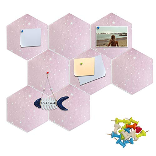Fovasen 8 Pcs Thick Hexagon Felt Board Tiles Self-Adhesive Pin Board Felt Bulletin Board Tiles Bulletin Memo Board with Multi-Color Push Pins for Home Office Classroom Wall School Decor,Pink