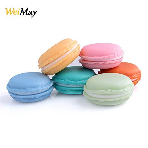 Weimay Mini-Schmuckschatullen in Makronenform, ideal zum Aufbewahren von Ohrringen, Halsketten und Ringen, 6-teilig
