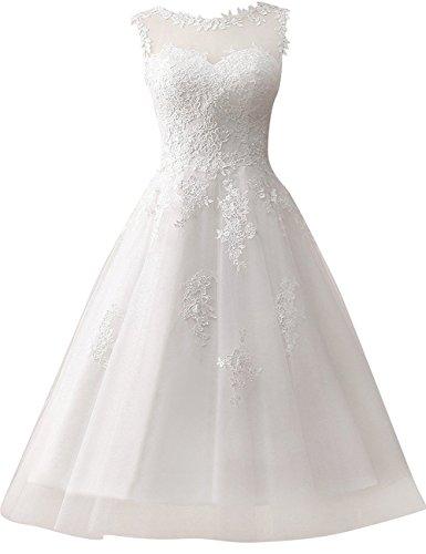 Brautkleid Hochzeitskleider Damen Brautmode Festkleid Tüll Spitze A Linie Wadenlang Elfenbein EUR38