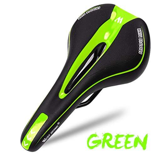 Jamicy Cómodo sillín de bicicleta de montaña, asiento de gel para bicicleta de montaña, cojín suave, accesorio para bicicleta de montaña, color verde