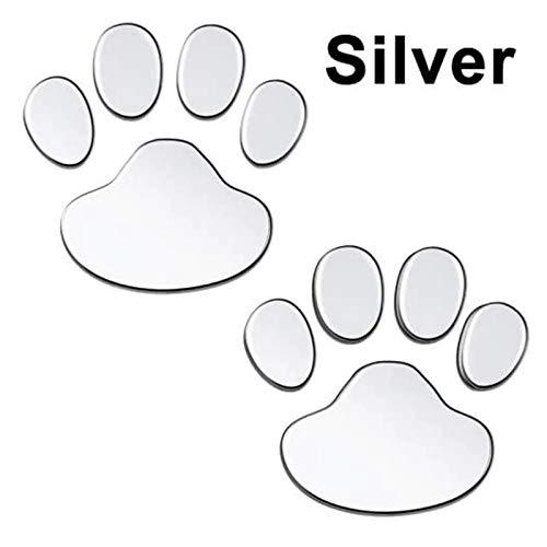 Pegatina para coche, 2 unidades, diseño de huellas de PVC, diseño de huella de gato y perro, para parachoques, parabrisas, puerta, espejo de refrigerador, pared (nombre de color: plata)