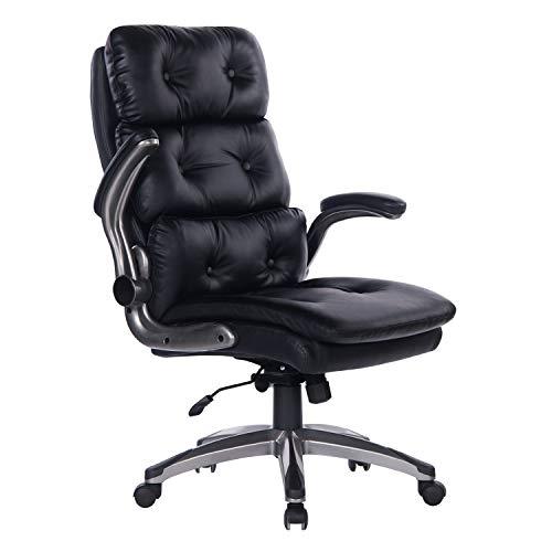 Bosmiller Bürostuhl Chefsessel Drehstuhl Bürostuhl aus Leder mit hoher Rückenlehne Computerstuhl Sitzhöhenverstellung Office Stuhl Polsterung (9029Schwarz)