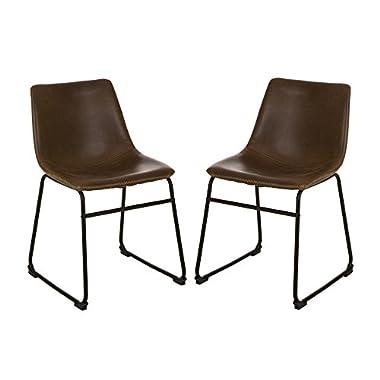 Glitzhome 2 Pcs Vintage Morden Dinner Side Chairs Dining Living Restaurant Bedroom Brown
