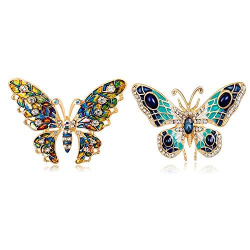 Brosche,Schmetterlings Brosche,Bunte Brosche Pins Legierung,Fashion Insekt Boutonniere,Perfekte Verzierung für Frauen und Männer,mit Einem Schönen Geschenkkasten,Ideale Geschenkauswahl (2 Arten,2Pcs)