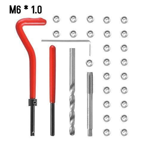 KKmoon 30 Stücke Gewinde Repair Set Werkzeug M6 Helicoil Reparatur Set M6 * 1.0
