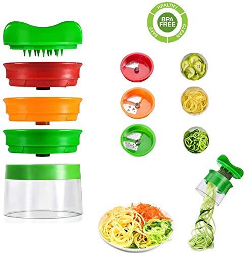 cheap4uk Gemüse-Spiralschneider, Hand-Spiralschneider, 3-Klingen-Spiralschneider, Schäler, Reibe, Spaghetti-Maschine für Karotten, Gurken, Kartoffeln, Kürbis, Zucchini, Nudel-Spaghetti