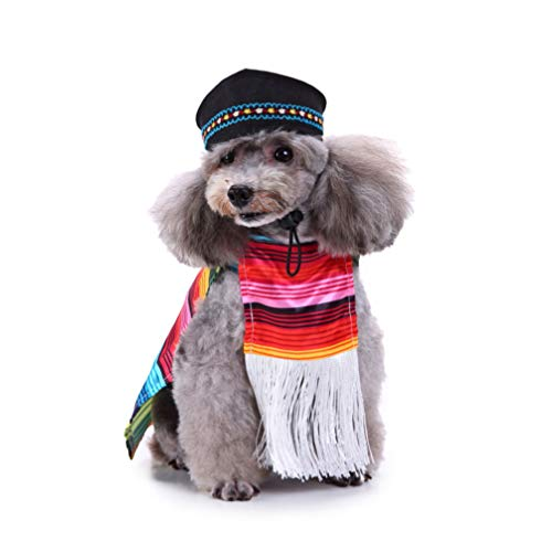 POPETPOP Cinco De Mayo Hundekostüm, mexikanischer Sarape, Haustierkostüm, Sombrero, Poncho, Mariachi, Welpen, Taco mit Huten, geeignet für kleine und mittelgroße Hunde (Größe XL)