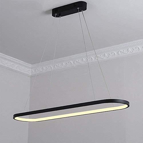 L.W.S Candelabro Lámpara nórdica de iluminación Interior LED Moderna para Sala de Estar y Cocina, Negra 120 CM, lámpara de ara?a de atenuación Continua Blanca fría