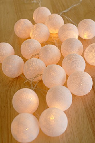 Lumières de boule de coton chaîne 20 boule de coton LED à piles mariage et décoration de fête Lumière blanche chaude (blanc ivoire)