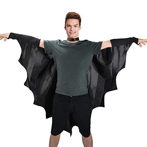 Proumhang Vampir-Fledermausflügel Fledermausflügel Schwarzer Umhang Cape Vampir Kostüm Halloween Erwachsener Unisex