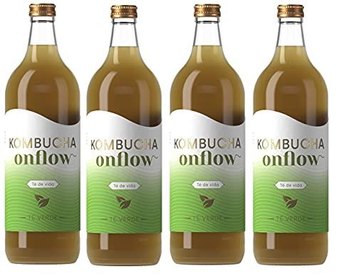 Onflow Té Kombucha en Base a SCOBY, Sabor a Té Verde, Bebida Vegana, Ecológica y Orgánica, Elimina Toxinas, Elaborado en España, Pack 4 x 1 Litro