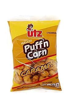 Utz Hulless Puff n Corn Caramel Flavored Puffed Corn Snacks 2 oz Bags  Set of 8