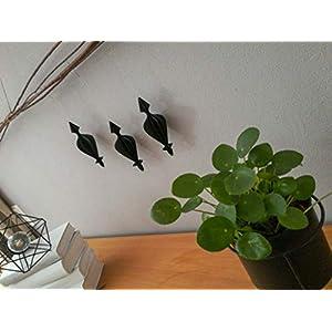 3er-Set Papierornamente aus schwarzem Papier//Fensterdeko//Anhänger aus Papier//