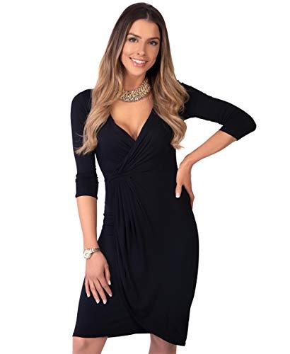 KRISP Vestido Moda Mujer Fruncido, Negro (6174), 44, 6174-BLK-16
