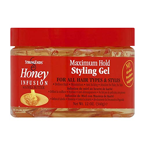 Biocare Labs StrongEnds Honey Infusion Maximum Hold Styling Gel For All Hair Types & Styles, 12 Oz.