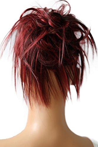 PRETTYSHOP XXL parrucchino Voluminoso Pezzo capelli capelli di gomma scrunchie ricci Updo Bun mix rosso scuro marrone # 2H113A G28F