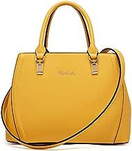 BOSTANTEN Women Leather Handbag Designer Top Handle Satchel Shoulder Bag Crossbody Purse Yellow