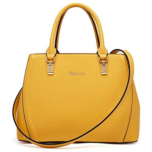 BOSTANTEN Damen Leder Handtasche Schultertasche Umhängetasche Elegante Henkeltasche Tote Bag Gelb