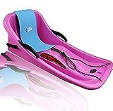 ZQQYP Equipo de esquí de Invierno Nieve Trineo plástico tobogán cómodo Respaldo con Frenos y Cojines Tableros de Arena para niños al Aire Libre,Rosado