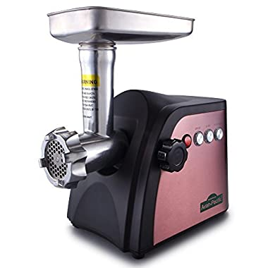 Avan-Pacific UMG-1801 ETL #8 LongLife Durable Electric Digital Light Touch Stainless Steel Meat Grinder with 2 S.S. Knives, 3 S.S.Plates, 1 S.S. Sausage Maker, 3 Pastic Sausage Stuffers, Kubbe Maker