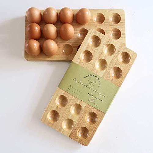 Mother Hen's 18 Eggs Wooden Egg Holder - Wooden Egg Tray - Wood Egg Tray - Egg Holder Wooden